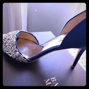 Royal blue shoes with rhinestones